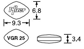 バイアグラ錠25mgの寸法