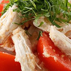 蒸し鶏とトマトの和風生姜マリネ