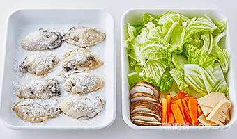 牡蠣の下準備